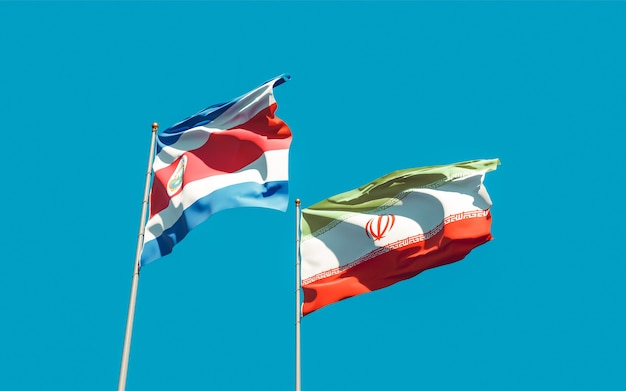 Bandeiras do irã e da costa rica. arte 3d
