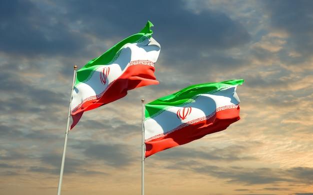 Bandeiras do irã e da estônia. arte 3d