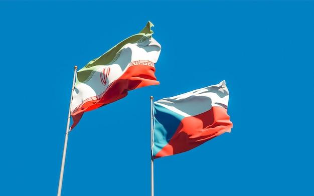 Bandeiras do irã e da república tcheca. arte 3d