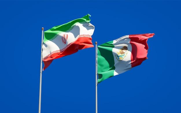 Bandeiras do irã e do méxico. arte 3d