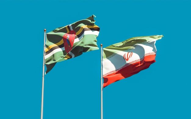 Bandeiras do irã e dominica. arte 3d