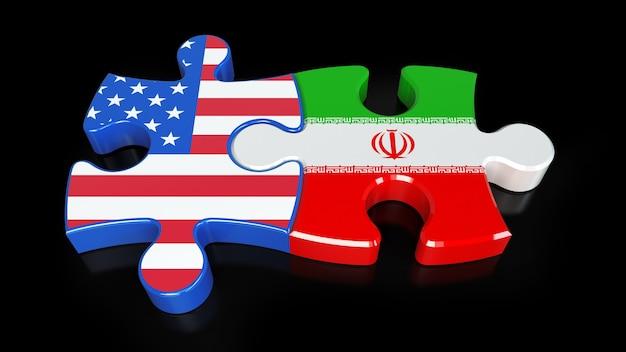Bandeiras do irã e dos eua em peças do puzzle. conceito de relacionamento político. renderização 3d