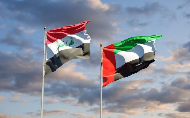 Bandeiras do iraque e emirados árabes unidos