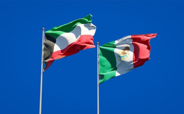 Bandeiras do kuwait e do méxico. arte 3d