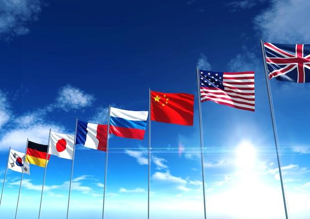 Bandeiras do país internacional, renderização em 3d