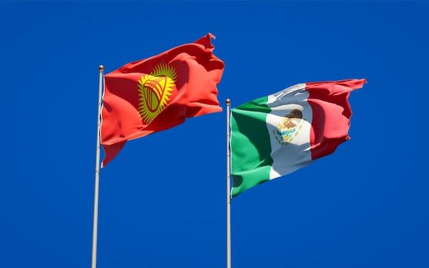 Bandeiras do quirguistão e do méxico. arte 3d