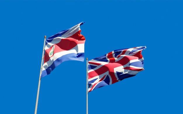 Bandeiras do reino unido, reino unido e costa rica. arte 3d
