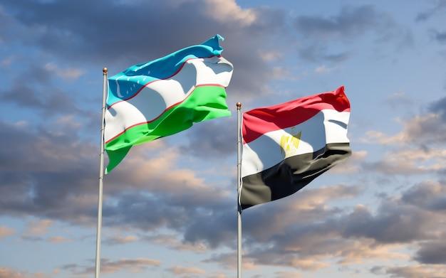 Bandeiras do uzbequistão e egito. arte 3d