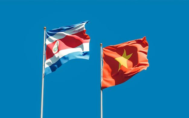 Bandeiras do vietnã e costa rica. arte 3d