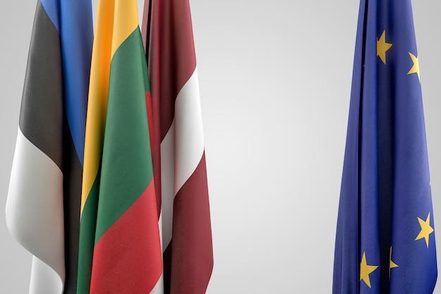 Bandeiras dos estados bálticos e da ue. conceito geopolítico