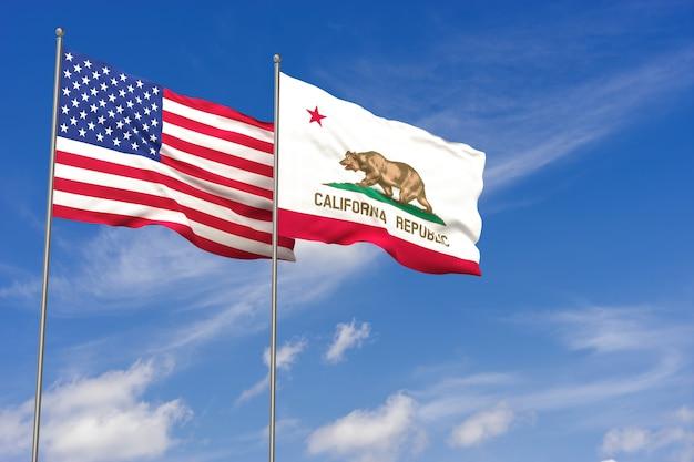 Bandeiras dos eua e da califórnia sobre o fundo do céu azul. ilustração 3d