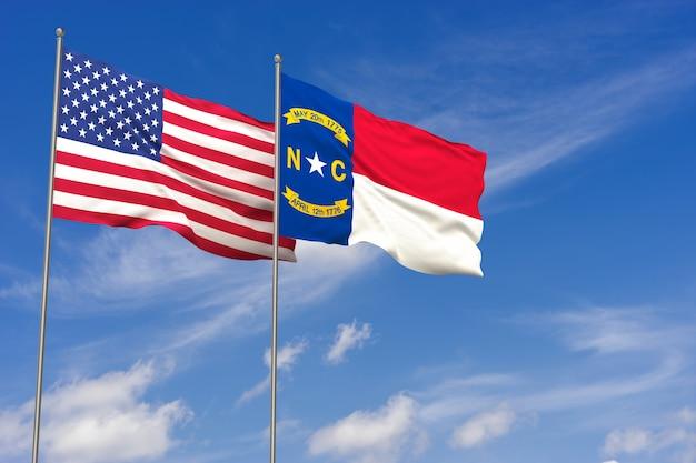 Bandeiras dos eua e da carolina do norte sobre o fundo do céu azul. ilustração 3d