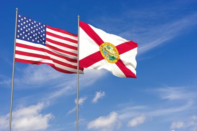 Bandeiras dos eua e da flórida sobre o fundo do céu azul. ilustração 3d