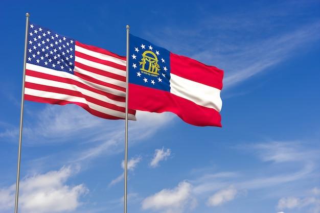Bandeiras dos eua e da geórgia sobre o fundo do céu azul. ilustração 3d