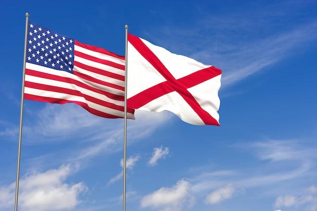 Bandeiras dos eua e do alabama sobre o fundo do céu azul. ilustração 3d