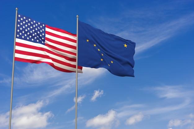 Bandeiras dos eua e do alasca sobre o fundo do céu azul. ilustração 3d