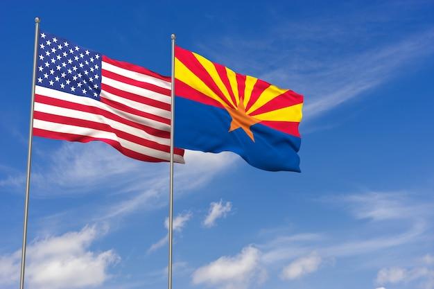 Bandeiras dos eua e do arizona sobre o fundo do céu azul. ilustração 3d