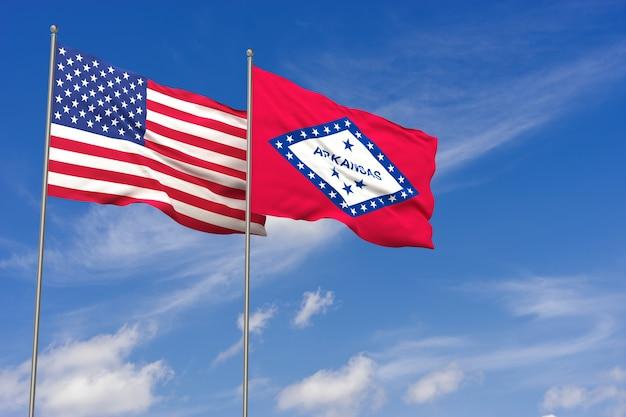 Bandeiras dos eua e do arkansas sobre o fundo do céu azul. ilustração 3d