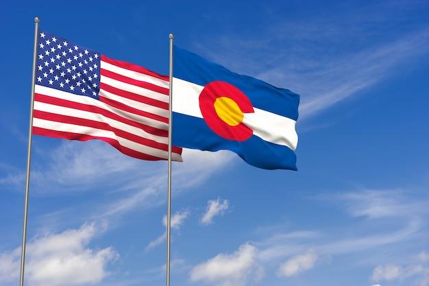 Bandeiras dos eua e do colorado sobre o fundo do céu azul. ilustração 3d