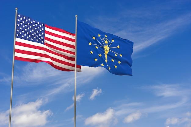 Bandeiras dos eua e indiana sobre o fundo do céu azul. ilustração 3d