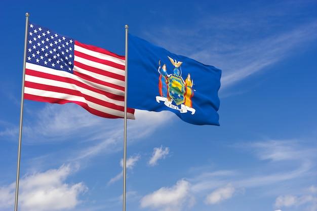 Bandeiras dos eua e nova york sobre o fundo do céu azul. ilustração 3d