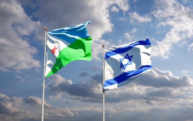 Bandeiras estaduais de djibouti e israel juntas no fundo do céu