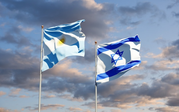 Bandeiras estaduais de israel e da argentina juntas no fundo do céu