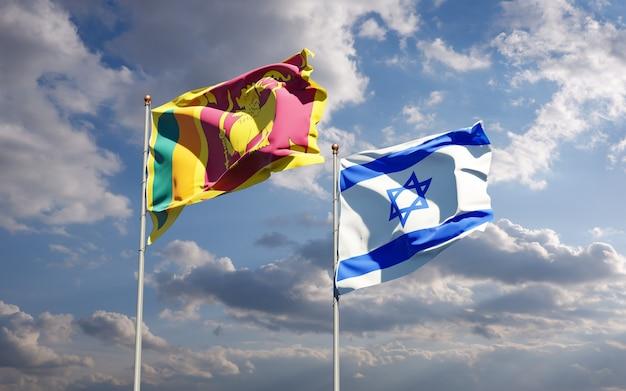 Bandeiras estaduais do sri lanka e de israel juntos no fundo do céu