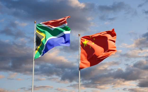 Bandeiras estaduais nacionais da áfrica do sul e china juntas