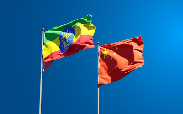 Bandeiras estaduais nacionais da etiópia e china juntas