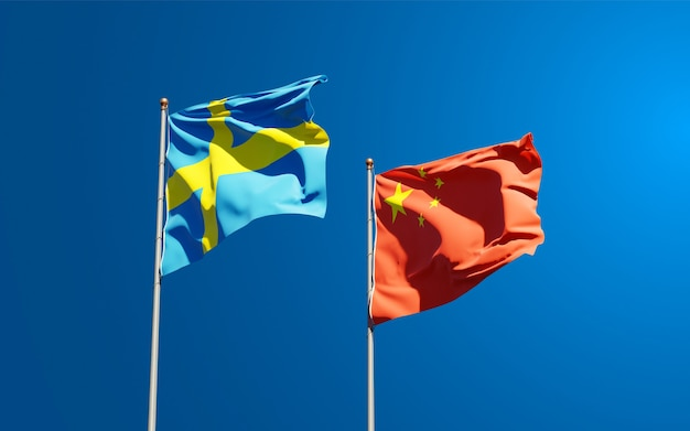 Bandeiras estaduais nacionais da suécia e da china juntas