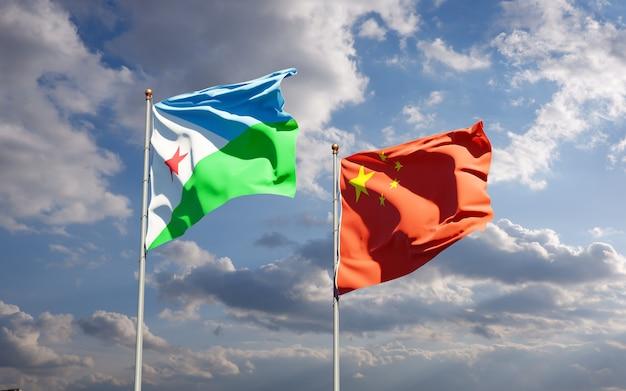 Bandeiras estaduais nacionais de djibouti e china juntas
