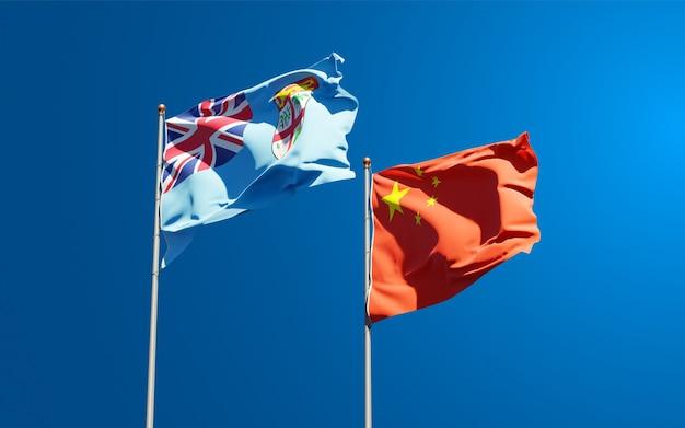 Bandeiras estaduais nacionais de fiji e china juntas