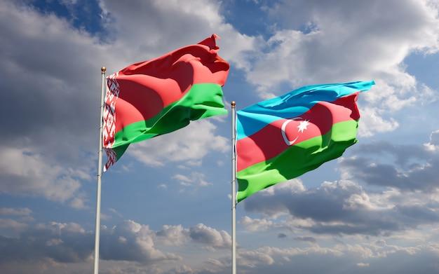 Bandeiras estaduais nacionais do azerbaijão e bielo-rússia