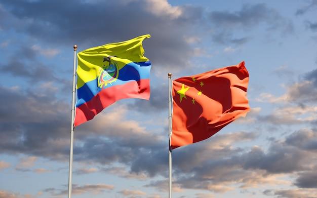 Bandeiras estaduais nacionais do equador e da china juntas