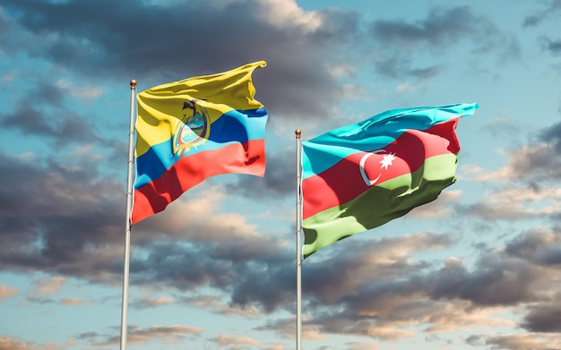 Bandeiras estaduais nacionais do equador e do azerbaijão juntas
