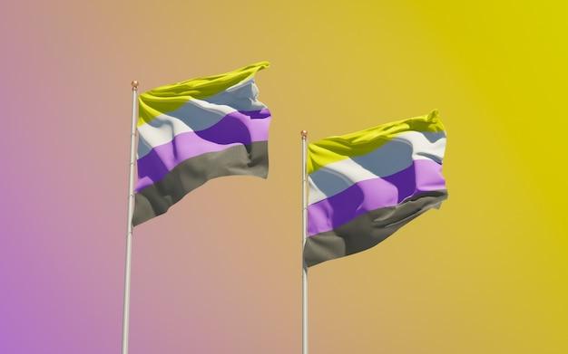 Bandeiras não binárias no fundo colorido