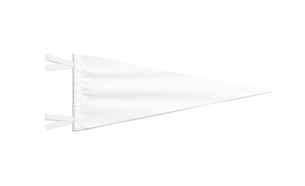 Bandeirola triangular branca em branco, isolada, renderização em 3d. penant clássico claro, vista superior. pingente de bandeira vazio
