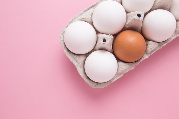 Bandeja com ovos de galinha em um fundo rosa. um ovo marrom entre branco. o conceito de individualidade.