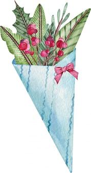 Bando de azevinho de natal com uma fita carmesim para celebração de férias, isolada no fundo branco.