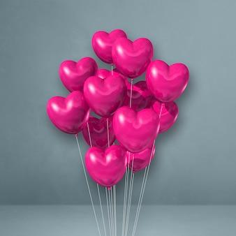 Bando de balões de forma de coração rosa em um fundo de parede cinza. ilustração 3d render