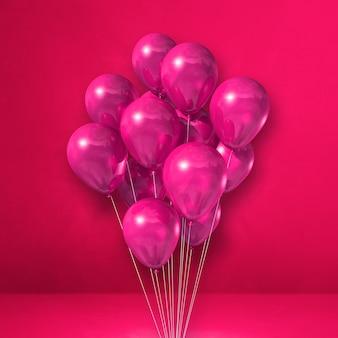 Bando de balões em um fundo de parede rosa. ilustração 3d render