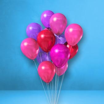 Bando de balões rosa em um fundo de parede azul. ilustração 3d render