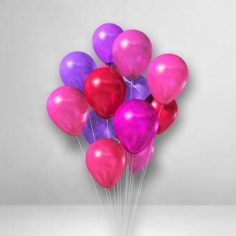 Bando de balões rosa em um fundo de parede branca. ilustração 3d render