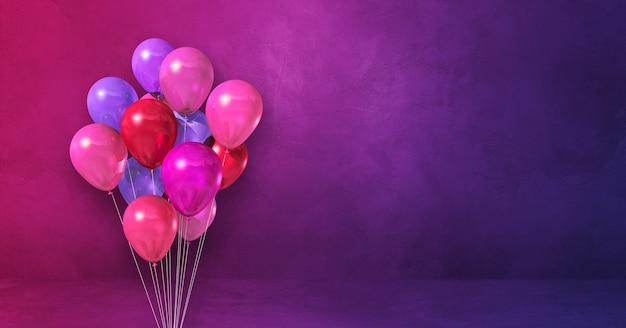 Bando de balões rosa em um fundo de parede roxo. banner horizontal. ilustração 3d render