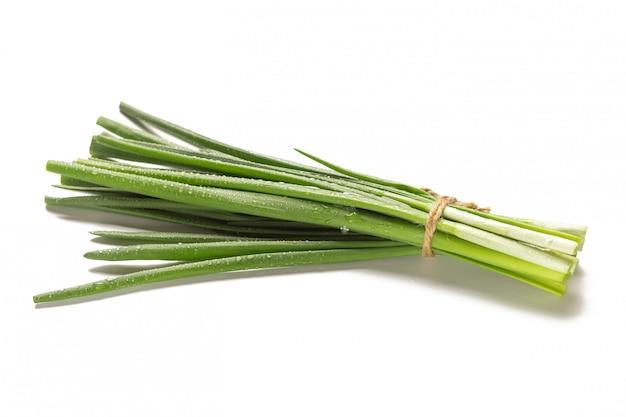 Bando de cebolinha fresca, isolada no fundo branco