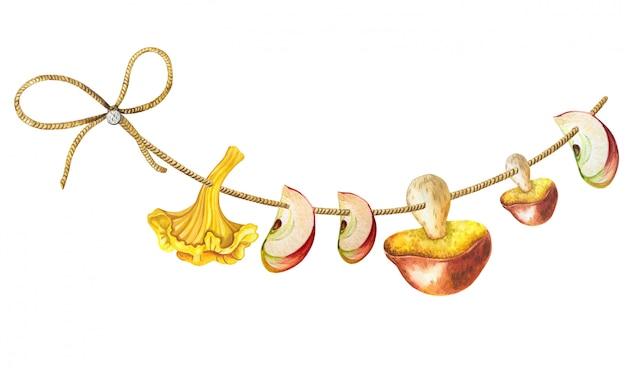Bando de cogumelos em uma corda. ilustração em aquarela de outono