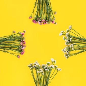 Bando de flores brancas e rosa, dispostas em fundo amarelo