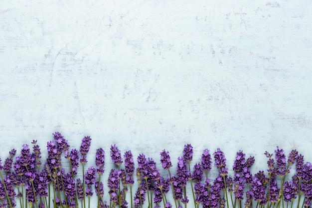 Bando de flores de lavanda amarrado isolado na superfície branca.