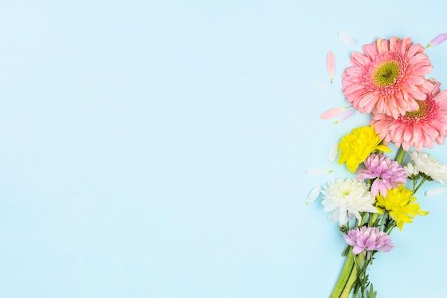 Bando de flores frescas e brilhantes